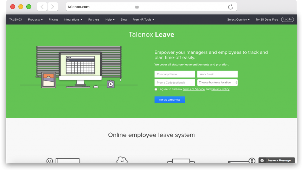 Talenox leave product page