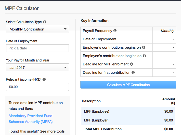 MPF first contribution calculator