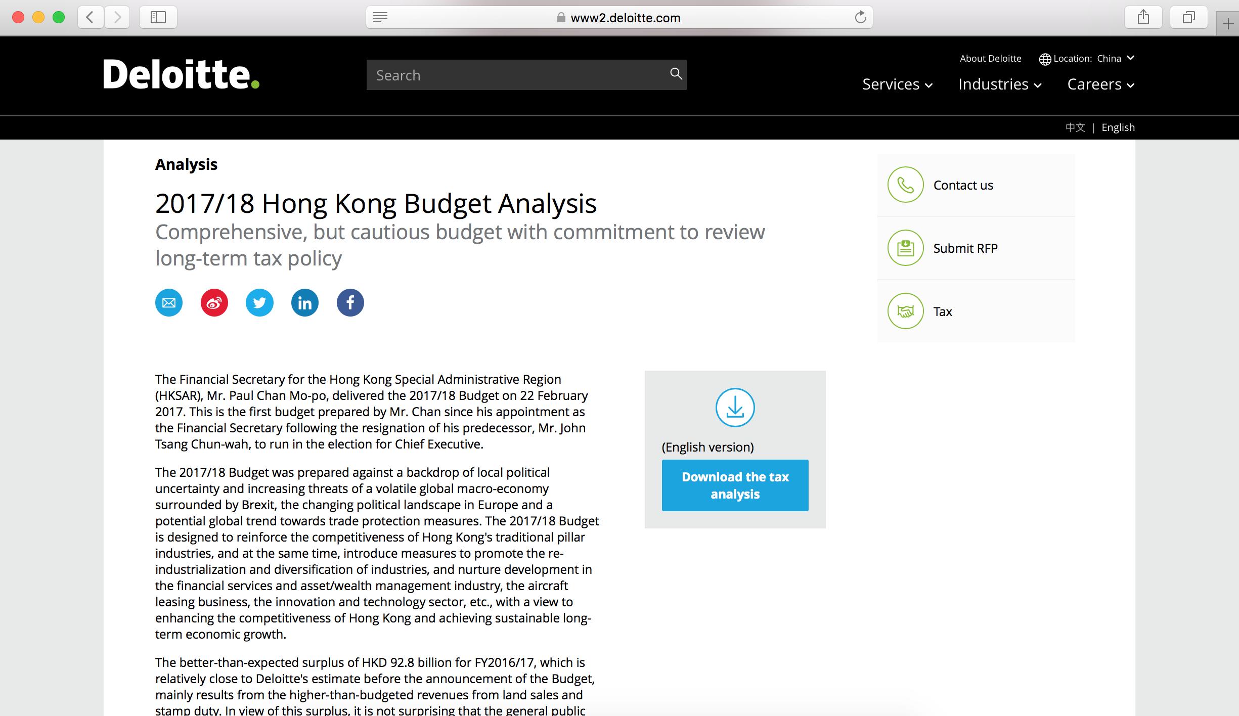 deloitte hk budget analysis