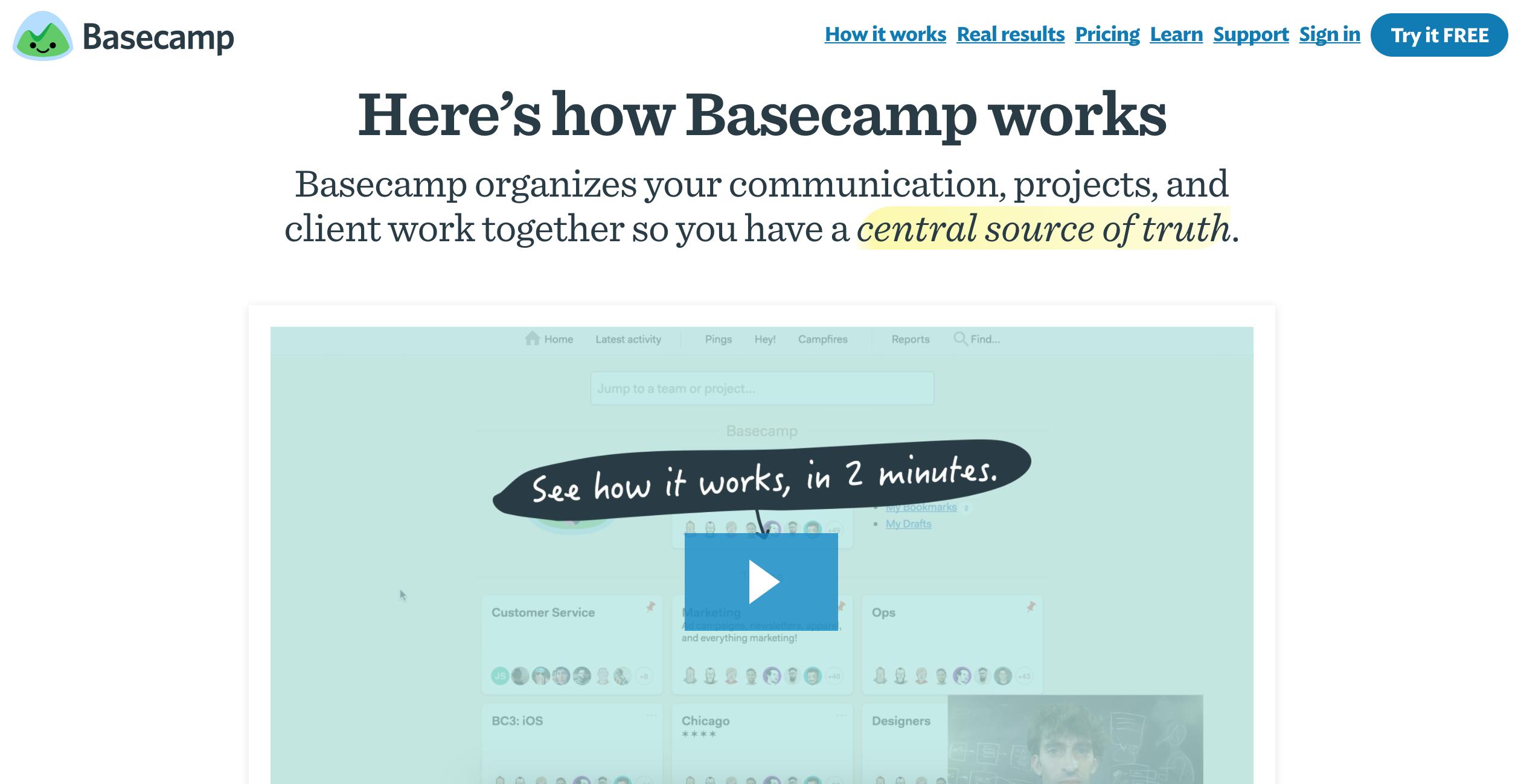 Basecamp website