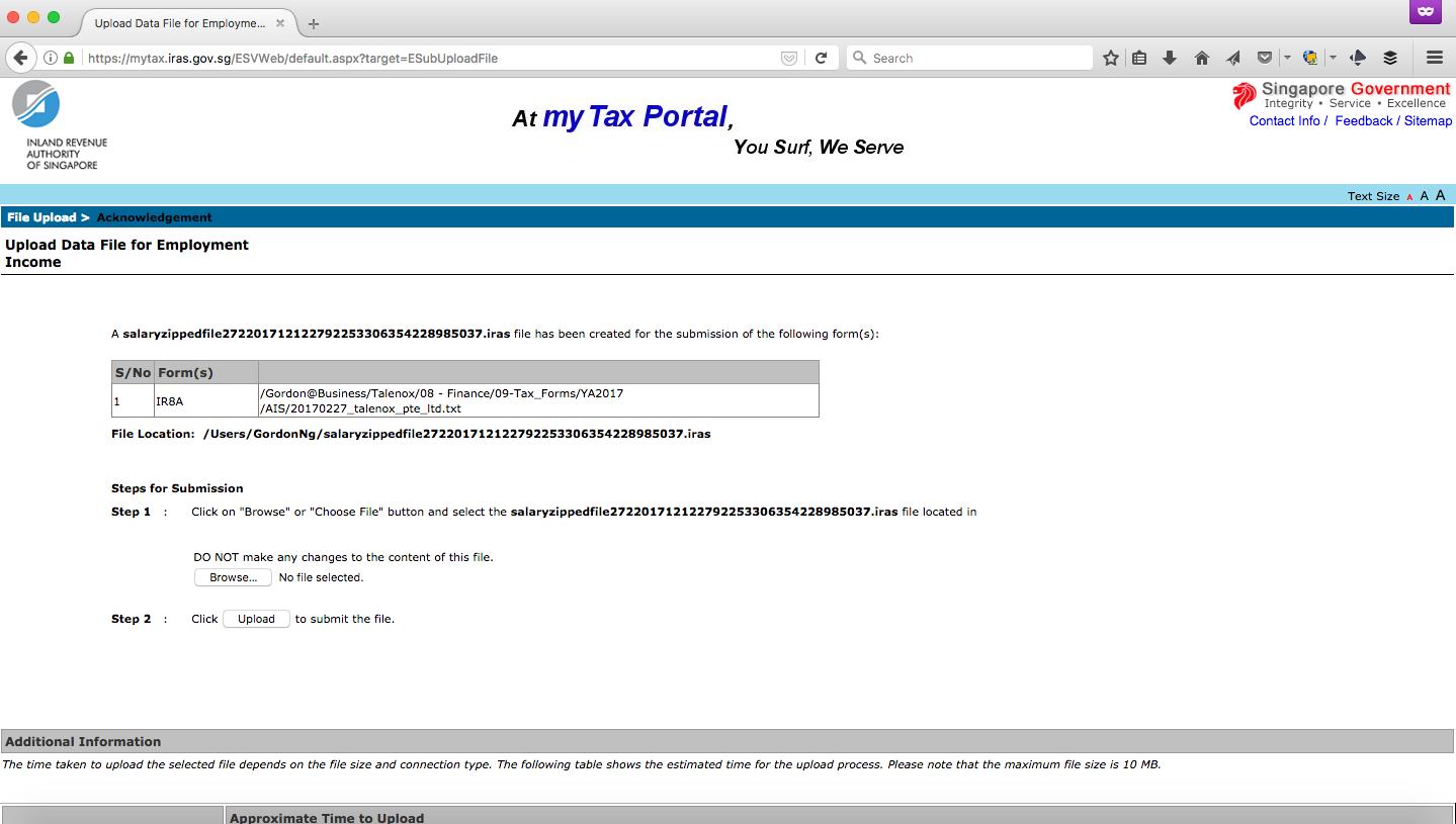 Uploading the .txt file onto MyTaxPortal