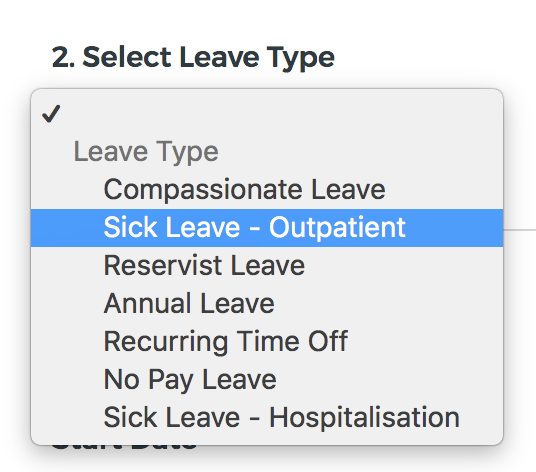 Drop down menu with sick leave options