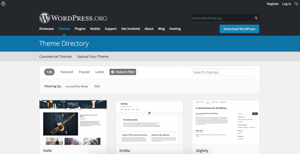 the theme directory on wordpress