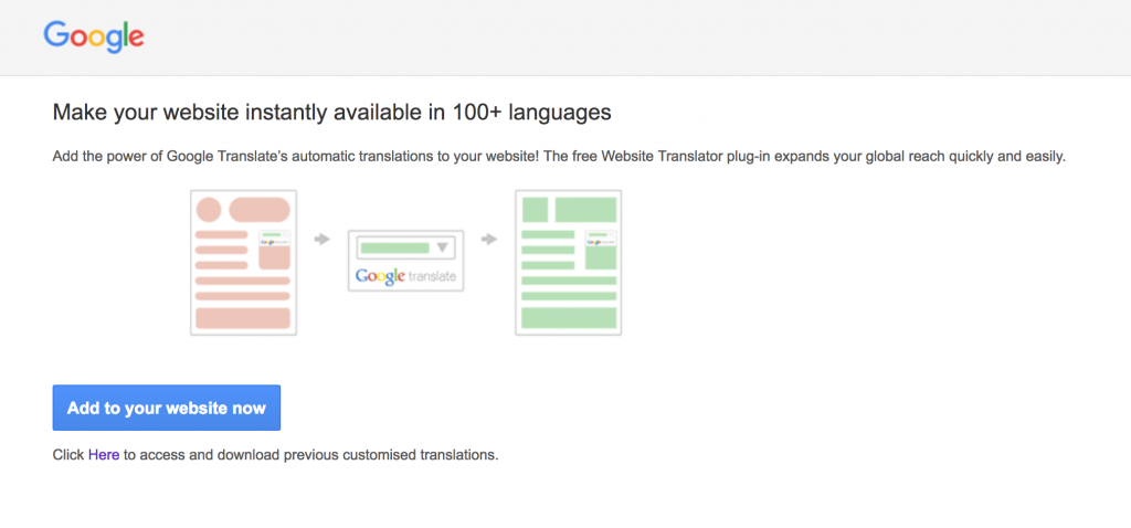 google translator page