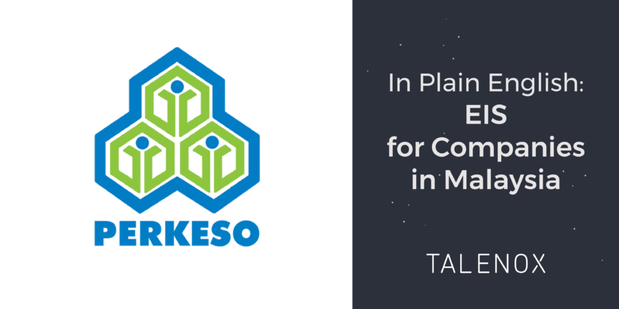 "perkeso and talenox logo on banner with text ""In Plain English: EIS for companies in Malaysia"""
