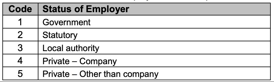 submit borang e status of employer