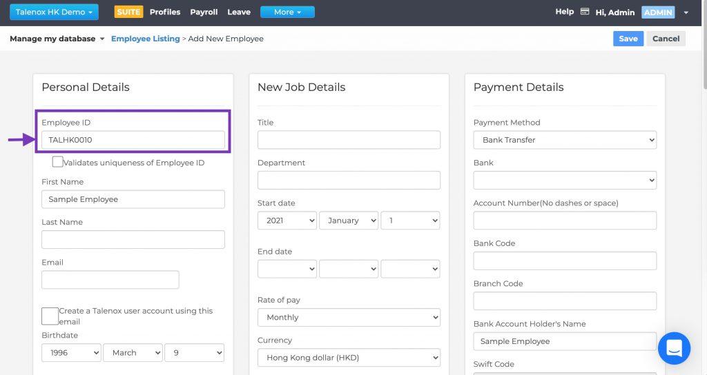 Talenox Updates Q1 2021 employee id automation generation