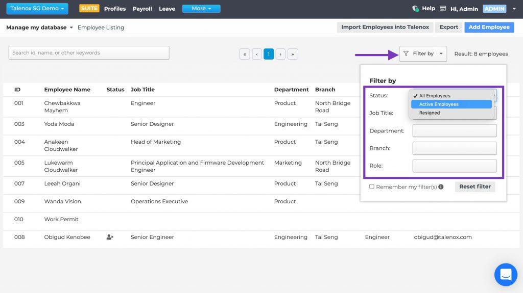 Talenox Updates Q1 2021 employee profile filter search