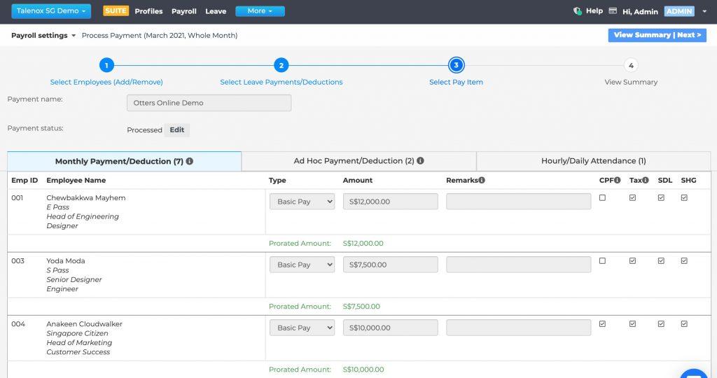Talenox Updates Q1 2021 pay items payroll process